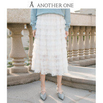 skirt Spring 2021 S,M,L white longuette grace High waist Cake skirt Solid color Type H 25-29 years old A112Q01051 Lace Gauze