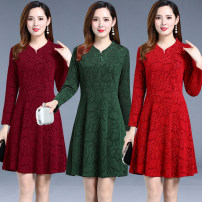 Middle aged and old women's wear Autumn of 2018 Red, green, purple XL,XXL,XXXL,4XL,5XL fashion Dress Self cultivation singleton  Solid color 40-49 years old Socket moderate Crew neck Medium length routine Hollowing out polyester 91% (inclusive) - 95% (inclusive) Medium length Polyester skirt
