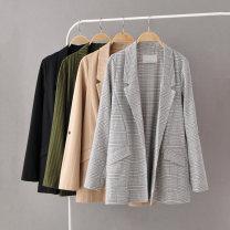 short coat Spring 2020 XS,S,M,L,XL Black, plaid, army green vertical stripe, khaki vertical stripe Long sleeves Medium length routine singleton  easy Versatile