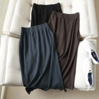 skirt Autumn 2020 Average size Blue, black, brown Mid length dress High waist High waist skirt Solid color Type A knitting