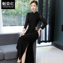 cheongsam Winter of 2019 M L XL XXL 3XL 4XL black Long sleeves Retro daily Solid color Over 35 years old Piping b0fd65b1f35 Charming red other Other 100% Pure e-commerce (online only)