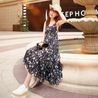 Dress Summer 2021 black S,M,L longuette singleton  Sleeveless street V-neck High waist Broken flowers zipper A-line skirt other camisole 18-24 years old Type A SINGKBEE printing D25 More than 95% Chiffon other Europe and America