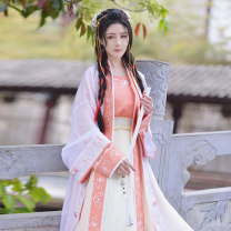 Hanfu 96% and above Summer of 2019 One piece, white outer. One piece, apricot inner. One piece, apricot inner. One piece, light yellow skirt. One piece, light yellow skirt. One piece, red bra. One piece, red bra 165,155,160,170 polyester fiber