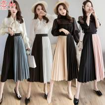 skirt Spring of 2019 Average size longuette commute High waist Splicing style other Type A 18-24 years old More than 95% other Love for Immortals polyester fiber Pleated stitching Korean version Polyester 100% Exclusive payment of tmall