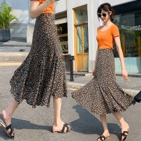 skirt Summer 2021 S M L XL Decor Mid length dress Retro High waist A-line skirt Broken flowers Type A 25-29 years old bxen13652 More than 95% Love for Immortals other Other 100% Same model in shopping mall (sold online and offline)
