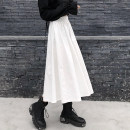 skirt Spring 2021 S M L XL Mid length dress commute High waist A-line skirt Solid color Type A 18-24 years old More than 95% Love for Immortals polyester fiber Simplicity Polyester 100% Pure e-commerce (online only)