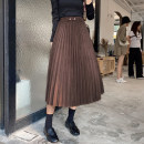 skirt Winter 2020 Average size Mid length dress commute High waist Pleated skirt Solid color Type A More than 95% Love for Immortals polyester fiber Button panel Korean version Polyester 100% Pure e-commerce (online only)