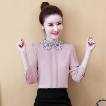 Lace / Chiffon Spring 2020 S,M,L,XL,2XL Long sleeves commute Socket singleton  easy Regular Crew neck Solid color shirt sleeve 25-29 years old Other / other Korean version 96% and above