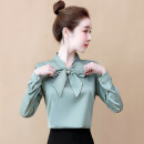 Lace / Chiffon Winter of 2019 S,M,L,XL,2XL,3XL Long sleeves commute Socket singleton  Self cultivation Regular V-neck Solid color shirt sleeve 25-29 years old Other / other Korean version 96% and above