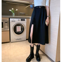 skirt Spring 2021 S M L XL black Mid length dress commute High waist A-line skirt Solid color Type A 18-24 years old More than 95% other Amiluck polyester fiber pocket Korean version Polyester 100% Pure e-commerce (online only)