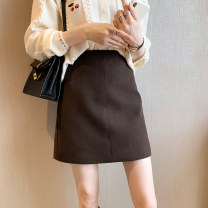 skirt Spring 2021 S M L XL Grey black apricot Brown Short skirt commute High waist A-line skirt Solid color Type A 18-24 years old AK-2020104-1070 51% (inclusive) - 70% (inclusive) other Amiluck cotton Korean version Cotton 60% polyester 27% viscose 13% Pure e-commerce (online only)