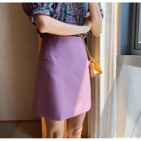 skirt Summer 2020 S M L Black yellow purple Short skirt commute High waist A-line skirt Solid color Type A 18-24 years old AK-4-17-511 51% (inclusive) - 70% (inclusive) other Amiluck polyester fiber zipper Korean version Polyester 65% polyacrylonitrile 35% Pure e-commerce (online only)