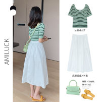 skirt Summer 2020 One size fits all XL M White [medium long A-line skirt] Navy Blue [medium long A-line skirt] green [striped sweater] blue black Khaki apricot Mid length dress Versatile High waist A-line skirt Solid color Type A 18-24 years old AK-3-64-Q331 51% (inclusive) - 70% (inclusive) other