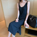 Dress Autumn 2020 Average size longuette singleton  Sleeveless commute Crew neck Loose waist Solid color Socket One pace skirt routine straps 18-24 years old Type H Amiluck Korean version 51% (inclusive) - 70% (inclusive) other polyester fiber Polyester 65% polyacrylonitrile 35%