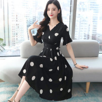 Dress Summer 2021 White black M L XL 2XL 3XL Mid length dress singleton  Short sleeve commute V-neck High waist Dot Socket A-line skirt routine Others 30-34 years old Type A Princess Daixiang Korean version Lace up stitching NRJ118A1-895# More than 95% Chiffon other Other 100%