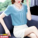 Lace / Chiffon Summer of 2019 Pink Blue S M L XL 2XL 3XL 4XL Short sleeve commute Socket singleton  easy Regular Doll Collar Solid color routine 30-34 years old Princess Daixiang BH-3F-326-A-8808 Three dimensional decorative lace splicing Korean version Polyester 100% Pure e-commerce (online only)