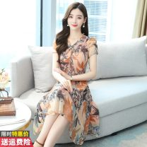 Dress Spring 2021 Orange M L XL 2XL 3XL 4XL 5XL Mid length dress singleton  Short sleeve commute V-neck High waist Broken flowers Socket A-line skirt routine Others 30-34 years old Type A Princess Daixiang Korean version Bow tie print More than 95% other other Other 100% Pure e-commerce (online only)