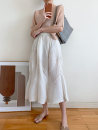 skirt Summer 2021 Average size Light grey, off white Mid length dress Versatile Natural waist Pleated skirt Solid color Type A More than 95% other Other / other polyester fiber