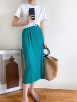 skirt Autumn 2020 Average size Yellow, dark gray, taro purple, lake green Middle-skirt Versatile High waist skirt Solid color T-type by092 More than 95% other Other / other polyester fiber Folds, pockets