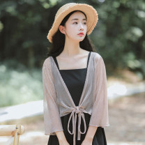 short coat Summer of 2019 S M L XL Picture color three quarter sleeve Thin money singleton  easy commute pagoda sleeve Half open collar Frenulum Solid color Yaborai 96% and above Pleated lace YBL-196256448 other Other 100% Pure e-commerce (online only)