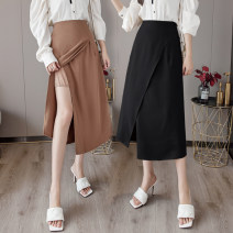 skirt Summer 2021 S M L XL Black Khaki apricot Mid length dress commute High waist A-line skirt Solid color Type A YBL-32833237 More than 95% Yaborai other Korean version Other 100% Pure e-commerce (online only)