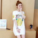 Women's large Summer 2020 Dress singleton  commute easy thin Socket Short sleeve Cartoon animation Korean version Crew neck Medium length cotton printing and dyeing routine Media bypass 18-24 years old 96% and above Medium length Cotton 100% Pure e-commerce (online only)
