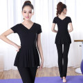 Yoga clothes S M L 2XL XL 3XL 4XL female Jieyuyi Set (two piece set) female sex Autumn and winter No chest pads Rayon Straight cylinder Socket three quarter sleeve trousers Spring of 2018 yes