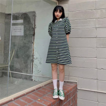 Dress Spring 2021 Green, purple, black Average size Mid length dress singleton  Short sleeve commute Polo collar High waist stripe Single breasted other puff sleeve Others Type H Button LOUISE 8137 51% (inclusive) - 70% (inclusive) other other