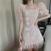 Dress Summer 2020 Pink, blue S,M,L Short skirt singleton  Short sleeve Sweet square neck middle-waisted Solid color Socket Ruffle Skirt puff sleeve Others 25-29 years old Flounce, cut out, Sequin, button, net, lace 31% (inclusive) - 50% (inclusive) Lace other