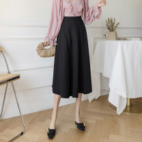 skirt Spring 2021 S M L XL black Mid length dress commute High waist A-line skirt Solid color Type A ZC276 More than 95% Mengdi Liani other Korean version Other 100% Offline only (only offline o2o sales)