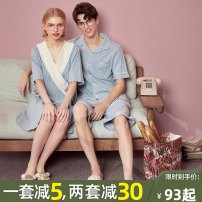 Pajamas / housewear set lovers M L XL XXL XXXL cotton Short sleeve Sweet Leisure home summer Thin money V-neck Solid color shorts Tether youth 2 pieces rubber string More than 95% pure cotton lace 200g and below Cotton 100% Summer 2021 Pure e-commerce (online only) Middle-skirt