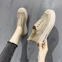 Low top shoes 35 36 37 38 39 40 Zhihe Round head Mesh Muffin bottom Middle heel (3-5cm) Deep mouth cloth Summer 2021 Trochanter Korean version Youth (18-40 years old) Color matching Single shoes Muffin with leisure time