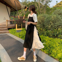 Dress Summer 2021 S M L XL Mid length dress Fake two pieces Short sleeve commute Crew neck High waist Solid color Socket A-line skirt routine camisole 18-24 years old Type A Ming Meiting Korean version Splicing More than 95% other other Other 100% Pure e-commerce (online only)