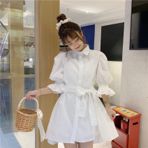Dress Summer 2021 White shirt skirt S M XL L Short skirt singleton  Short sleeve commute Polo collar High waist Solid color Single breasted A-line skirt puff sleeve Others 18-24 years old Type A Ming Meiting Korean version Bow tie button 3#331#585 More than 95% other other Other 100%