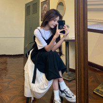 Dress Summer 2021 Black dress white T-shirt S M L XL Mid length dress Fake two pieces Short sleeve commute Crew neck High waist Solid color Socket A-line skirt routine camisole 18-24 years old Type A Ming Meiting Korean version Splicing 3#324#510 More than 95% other other Other 100%