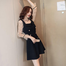 Dress Autumn of 2018 Black sleeves, apricot sleeves S,M,L,XL,2XL Short skirt singleton  Nine point sleeve commute square neck High waist Solid color zipper A-line skirt bishop sleeve Others 18-24 years old Type A Other / other Ol style 71% (inclusive) - 80% (inclusive) brocade cotton