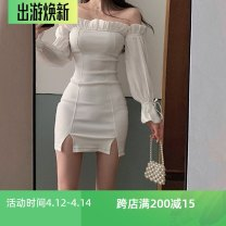 Dress Autumn 2020 White, black S,M,L Short skirt singleton  Long sleeves commute One word collar High waist Solid color zipper Pencil skirt pagoda sleeve Breast wrapping Type X Korean version 71% (inclusive) - 80% (inclusive) cotton