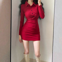 Dress Autumn 2020 Red, black S,M,L,XL Short skirt singleton  Long sleeves street Polo collar High waist Solid color Single breasted One pace skirt routine Type X Pleats, stitches, buttons 51% (inclusive) - 70% (inclusive) cotton