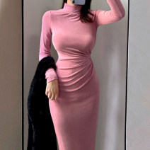 Dress Autumn 2020 Black, khaki, rose powder S,M,L longuette singleton  Long sleeves commute stand collar High waist Solid color Socket Pencil skirt routine Others Type X Korean version fold 51% (inclusive) - 70% (inclusive) other