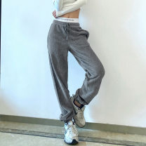 Casual pants grey S,L,M Spring 2021 trousers High waist street routine 18-24 years old 51% (inclusive) - 70% (inclusive) corduroy belt spandex