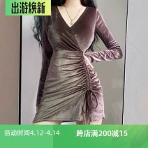 Dress Autumn 2020 Dark purple S,M,L Short skirt singleton  Long sleeves commute V-neck High waist Solid color zipper One pace skirt routine Others Type X Other / other Korean version Bow, fold, lace 71% (inclusive) - 80% (inclusive) other other