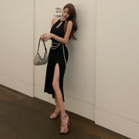 Dress Summer 2020 Black, brick red S,M,L Mid length dress singleton  Sleeveless Crew neck High waist Solid color Socket One pace skirt Hanging neck style Type X Other / other 51% (inclusive) - 70% (inclusive) other other