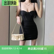 Dress Spring 2021 Off white, black, light purple S,M,L,XL Short skirt singleton  Sleeveless street V-neck High waist Solid color Socket One pace skirt routine camisole 18-24 years old Type X Open back, fold 81% (inclusive) - 90% (inclusive) polyester fiber Europe and America