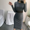 Dress Autumn of 2019 Black, dark grey S,M,L,XL Mid length dress singleton  Long sleeves street Crew neck High waist Solid color Socket Pencil skirt routine Others 18-24 years old Type X 71% (inclusive) - 80% (inclusive) other cotton Europe and America