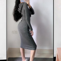 Dress Autumn 2020 Dark grey, light pink S,M,L,XL longuette singleton  Long sleeves V-neck High waist Solid color One pace skirt routine Type X 51% (inclusive) - 70% (inclusive) knitting