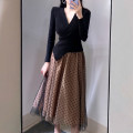 Dress Autumn 2020 khaki S,M,L longuette Fake two pieces Long sleeves commute V-neck High waist Dot Socket Big swing routine Others Type X 31% (inclusive) - 50% (inclusive) knitting cotton
