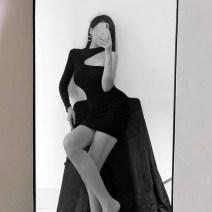 Dress Autumn 2020 black S,M,L Short skirt Long sleeves Half high collar High waist Socket Pencil skirt Hanging neck style Type X 51% (inclusive) - 70% (inclusive)