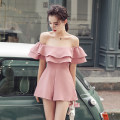 Dress Summer of 2019 Skin powder S,M,L,XL Short skirt singleton  Sleeveless street One word collar High waist Solid color Socket A-line skirt Lotus leaf sleeve Others 18-24 years old Type A Other / other 51% (inclusive) - 70% (inclusive) cotton Europe and America