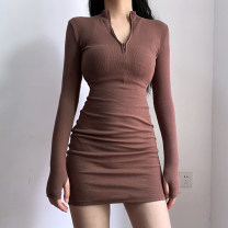 Dress Autumn 2020 Brown, black S,M,L,XL Short skirt singleton  Long sleeves stand collar High waist Solid color One pace skirt routine Type X zipper cotton