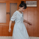Dress Summer 2021 Sky blue in stock S, M Mid length dress singleton  Short sleeve Doll Collar High waist Solid color Socket A-line skirt puff sleeve Type A Cong tailor / scallion More than 95% cotton